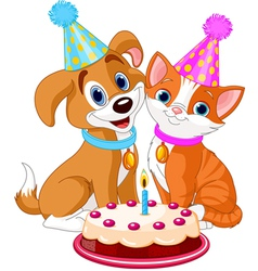 Cat and Dog celebrating vector image vector image