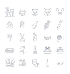 Cat care pet shop flat thin line icons vector image vector image