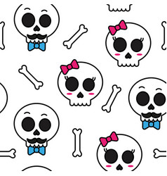 cute sugar skull boy and girl seamless pattern vector image vector image