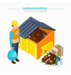 Garbage removal isometric poster vector