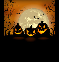halloween background with scary pumpkins vector image