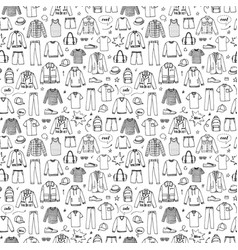 hand drawn seamless pattern mens clothing vector image
