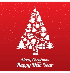 Merry Christmas greeting card Tree of flat icons vector image vector image