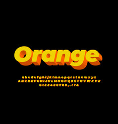 3d abstract modern orange and yellow font effect vector