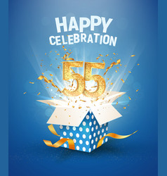 55 th years anniversary and open gift box with vector