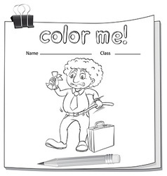 A color me worksheet with a man vector image