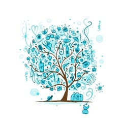Art tree with female accessories for your design vector image