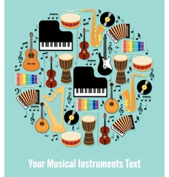 Assorted Musical Instruments Design with Text Area vector image vector image