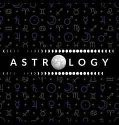 Astrological temlplate for horoscope with moon vector