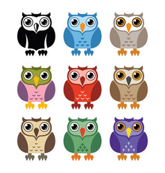 Black and white and colorful owl icons vector