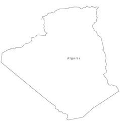 Black White Algeria Outline Map vector image