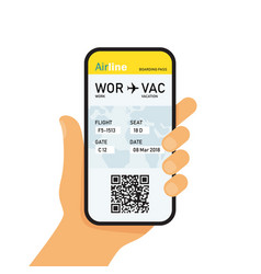 boarding pass in mobile phone vector image