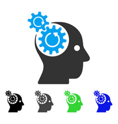 Brain gears rotation flat icon vector