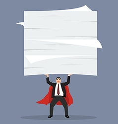 businessman superhero lifting a lot of documents vector image