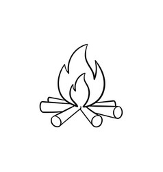 campfire hand drawn sketch icon vector image