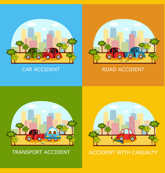 Car accident banners - collision and pedestrian vector