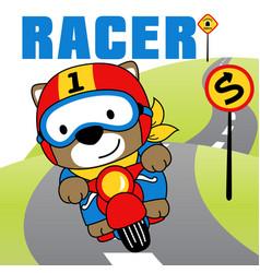 cartoon a cute animal riding a motorcycle vector image