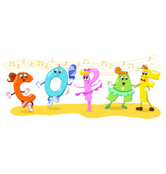 cartoon dancing letters vector image