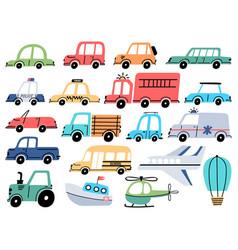 Cartoon kids toy cars police ambulance airplane vector