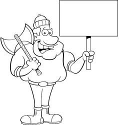 Cartoon lumberjack holding a sign vector