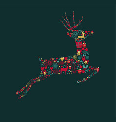 Christmas gold decoration icons in deer shape vector