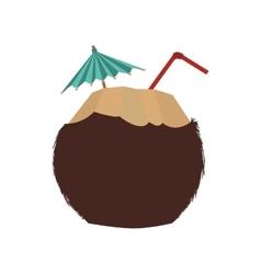 Cocktail coconut summer umbrella icon vector