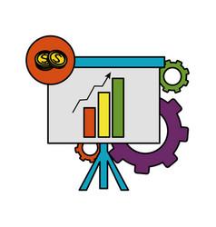 Color statistics bar growing presentation with vector