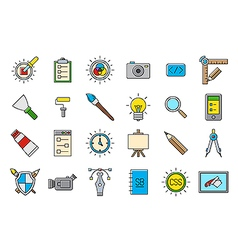 Colorful graphic design icons set vector
