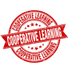cooperative learning round grunge ribbon stamp vector image