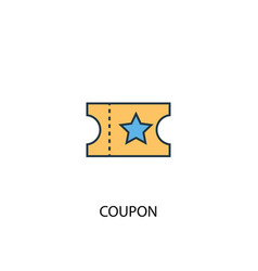 coupon concept 2 colored line icon simple yellow vector image