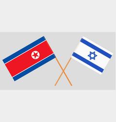 Crossed flags israel and north korea vector