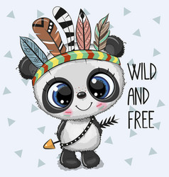 Cute cartoon tribal panda with feathers vector