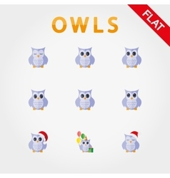Cute collection owls with different eye vector