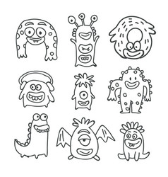 cute monsters cartoon doodles isolated vector image