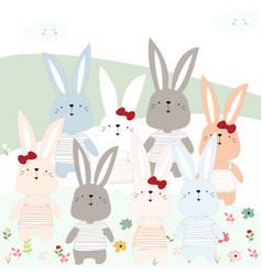 Cute rabbit bunny in garden vector