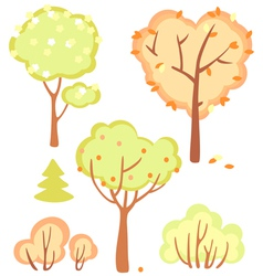 Cute set of bushes and trees vector