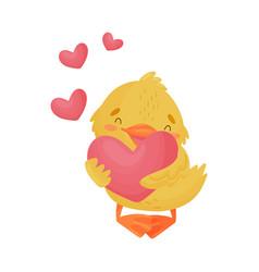 Cute yellow duckling in love vector