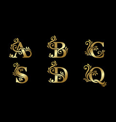design a luxury logo with initial letters vector image