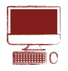 Desktop computer icon in dark red blurred vector