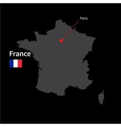 detailed map france and capital city paris vector image