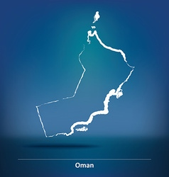 Doodle Map of Oman vector image
