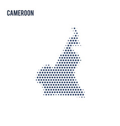 dotted map of cameroon isolated on white vector image