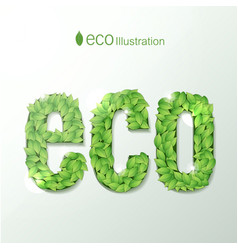 Environmental with green leaves font vector
