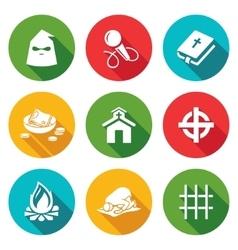 False religion sect icons set vector