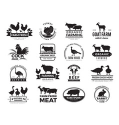 farm animals business logo with domestic animals vector image