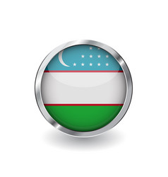 flag of uzbekistan button with metal frame and vector image