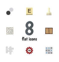 Flat icon play set of chequer pawn x-o and other vector