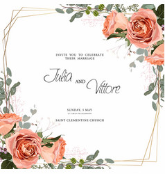 floral wedding invitation card template design vector image