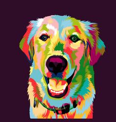 golden retriever dog pop art vector image