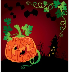 Halloween frame with pumpkin vector
